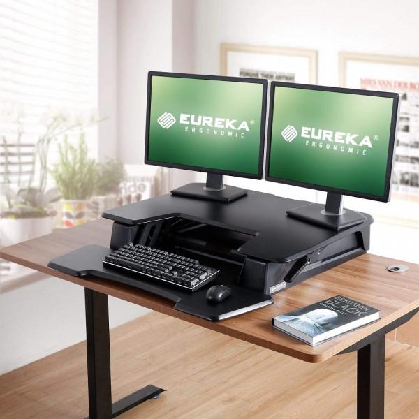 Eureka Ergonomic Height Adjustable Standing Desk Converter - 36 Inch, Black