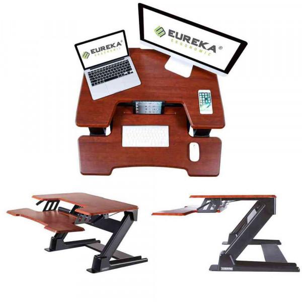 Eureka Ergonomic Height Adjustable Standing Desk Converter - 36 Inch, Cherry