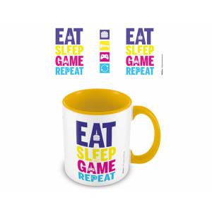 Pyramid Coloured Inner Mug: Eat, Sleep, Game, Repeat (Gaming) Yellow