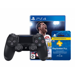 Sony PlayStation DualShock 4 + FIFA 18 World Cup Edition + PS Plus 3 месяца