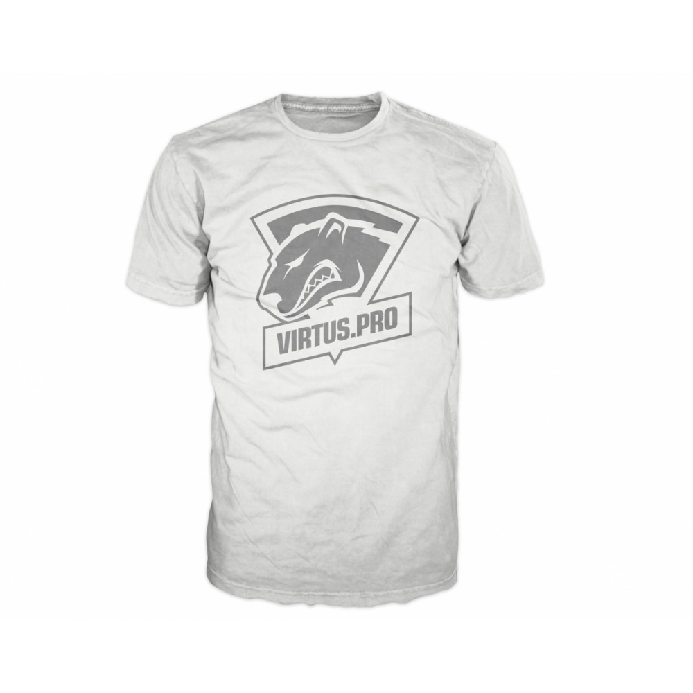 Virtus pro casual t shirt with logo white for Casual white t shirt